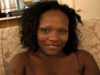 Amateur ebony slut with huge tits gets undressed