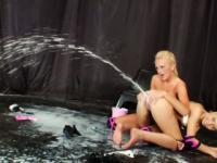 Blonde milk enema loving lesbos squirt