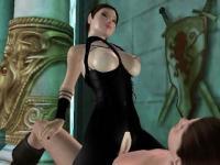Zwei 3D Babes saugen und einen Stollen harten Schwanz Reiten