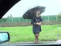 Dude fucks blonde stewardess in his car pov