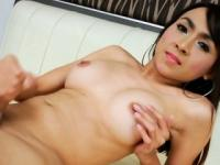 Glamour shemale Sweet A handjobs her hard cock to orgasm