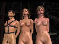 Two sexy tied up 3D cartoon babes sharing a hard cock