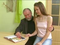 Teen making her grandpa and boyfriend very proud of her