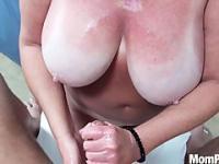 Huge natural tits MILF behind the scenes