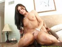 Sneaky sexy brunette joins in on pounding