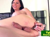 TS Eva Casinni puts ribbed dildo in ass