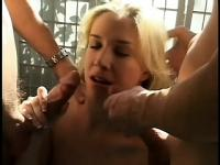 Sexy blonde goes down for her hung lovers to use her as they please