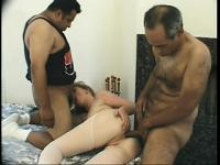 Milky white mom invites over the hairy neighbor duo for a MMF threesome with anal