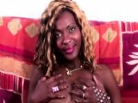 Horny ebony Euro beauty plays