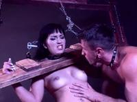 Amazing brunette slut is bound