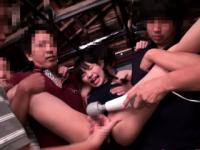 Japanese pissing babe in group toyed with vobrator
