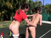 Hazed coed babes outdoor oral fun