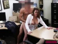 Milf flashes her extra large tits and she gets laid for cash