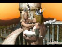Hentai 3D rey y reina caliente follando en el castillo