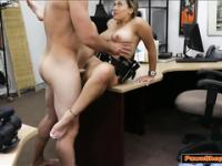 Latina lady fucks pawnshopowner for cash
