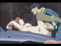 Bondage hentai virgin fucked in the car by pervert