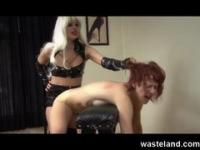 Submissive Gal With Beautiful Ass Gets Spanked and Fucked By FemDom Strapon