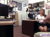 Tight waitress sells her pouch and fucked at the pawnshop