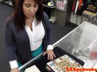 Busty pawnshop amateur showing tits off out back