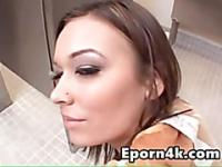 Young brunette fucked hard in publi