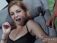 Two GFs in lingerie sucking dick in POV 3some
