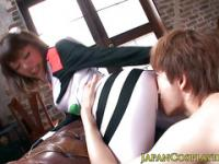 Japanese fetish babe in uniform sixtynines guy