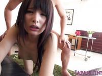 Tiny japanese cocksucking babe riding on cock