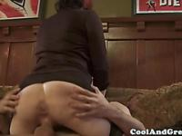 Busty mature riding on dick