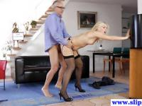 Tall glamour euro beauty loves pleasuring geriatric