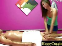 Sensual asian masseuse pleasing customer