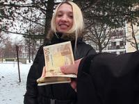Blonde babe Mina took money and fucked