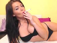 Babe Toys her Tight Pussy While Smoking