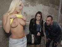 Big tit Blondie Fesser exposes her tits in public and gets outdoor fucking