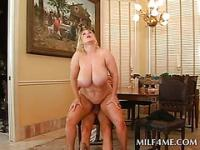 Huge titted MILF pussy smashed from behind