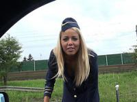 Cute stewardess horny roadside fucking