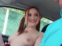 Horny Eva gets into hot strangers car and gets fucked in the backseat