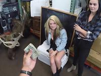 Lesbians pussy gets tongue fucked and probed in exchange of cash