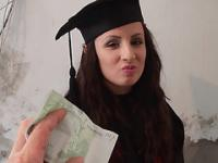 Kerry exposes pussy for money and gets fucked on her graduation day
