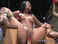 Beautiful brunette slave in femdom