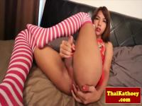 Naughty thai teen shemale penetrates her ass with dildo