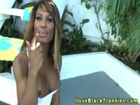 Tranny Chastity Michaels asstoyed outdoors