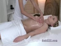 Sexy blonde has lesbian massage