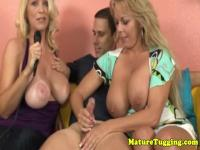 Busty mature milfs in handjob threeway tugging
