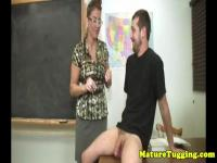 Cfnm milf teacher gets her tits creamed on