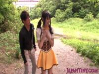 Tiny japanese cosplay babe gets fingered