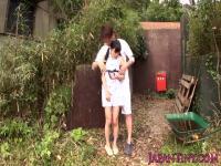 Tiny Japanese babe fucked between legs outdoors
