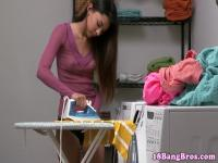 Fucked petite teen facialized after ironing