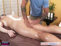 Oiled cutie Alex Chance fucking her masseur