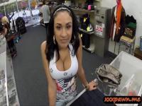 Huge tits latina slut pawns her pussy