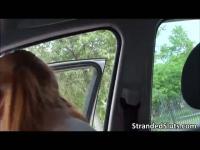 Sexy Eva gets into hot strangers car to get to her destination